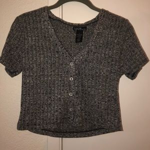 Heathered grey crop top with buttons